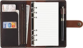 Refillable Ring Binder Leather Journal Notebook, 6-Ring Loose Leaf Planners and Organizers, Handmade Spiral Diary A6 Traveler Notebook, Coffee