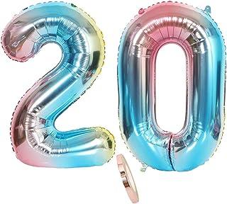 """globos numeros 20, globo número 20 arcoíris arco iris niña niño infantil,32"""" figuras helio inflable gigante grande iridiscentes de colores azul para decoración fiesta de cumpleaños 20 años (xxxl 80cm)"""