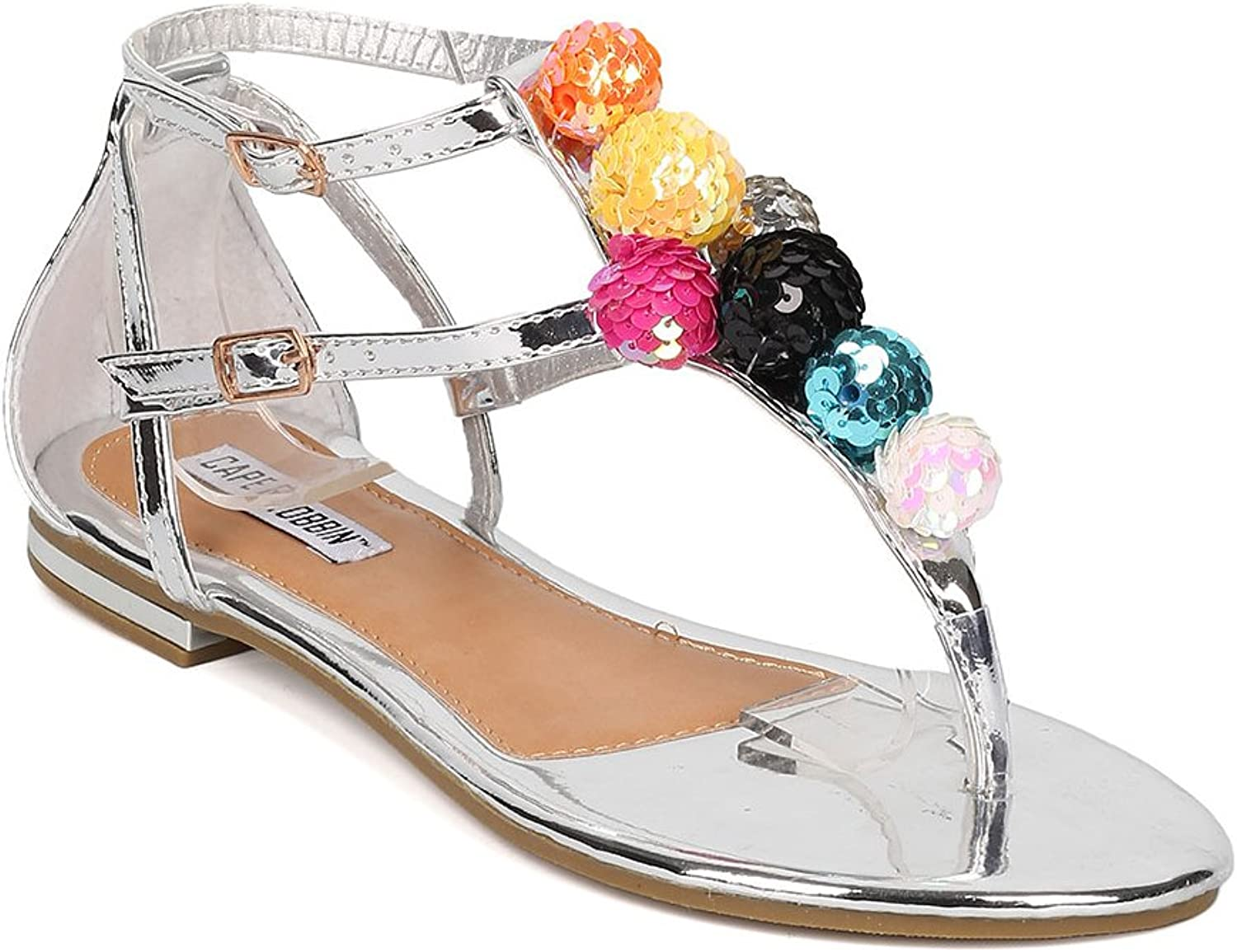 CAPE ROBBIN HK28 Women Leatherette T-Strap Sequinned Ornament Sandal HJ29