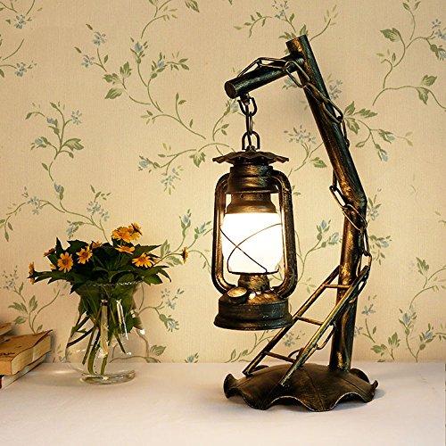 Modeen 54 cm Rétro Salon Lampe de Table Bouton Fer Forgé Kerosene Lumière E27 Nostalgique Cheval Lampe de chevet 110-220V AC Tension Verre Ombre Desk Light