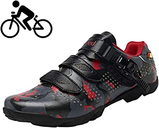 ZMYC Adults Cycling Shoes Unisex Road Bike Shoes, Comfortable Non-slip Breathable Lock-free Cycling Shoes Bicycle Biking Sport Shoes (Color : Red, Size : 47)