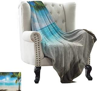 BelleAckerman Yoga Blanket Tropical Beach,Coconut Palm Trees Shadows On Caribbean Shore Summer Plants Idyllic, Aqua Coconut Green Flannel Blankets Made with Plush Microfiber 30