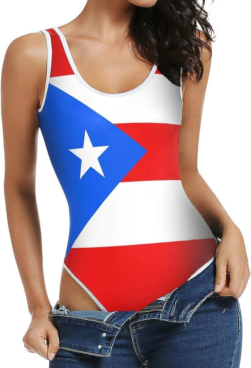CHINEIN Women's Sexy Scoop Neck Bodysuits Jumpsuits Puerto Rico Flag