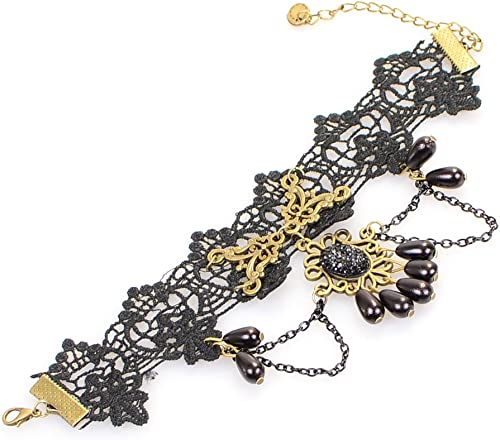 Women Jewelry Party Accessory Black Tassels Beads Lace Crystal Anklet