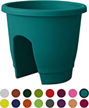 ALMI Balcony Deck Rail Planter Box with Drainage Trays, Bloomers Railing Round Pot, Drainage Holes, Weatherproof Resin Planter, 12 Inch, Indoor & Outdoor, Turquoise