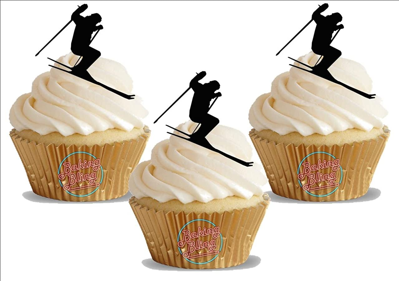 Skier Silhouette 12 Standup Edible Premium Wafer Paper Cake Toppers Decoration 12 X 55Mm