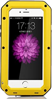 iPhone SE Case,Amever Luxury Aluminum Alloy Protective Metal Extreme Shockproof Military Bumper Heavy Duty Cover Shell Case Skin Protector for Apple iPhone 5/5C/5S/SE (Yellow)