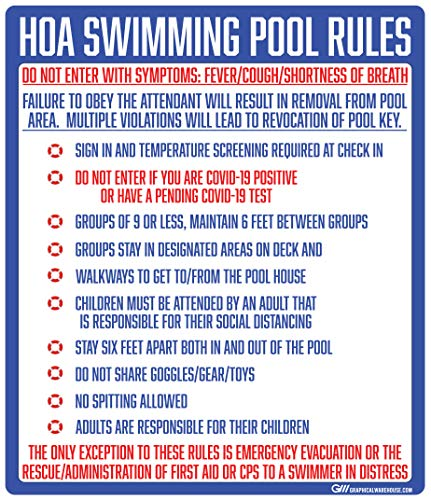 'Home Owners Association Pool Rules' COVID-19 (Coronavirus) Adhesive Durable Vinyl Decal- (Various Sizes Available) Sign by Graphical Warehouse- Safety and Security Signage (14x12')