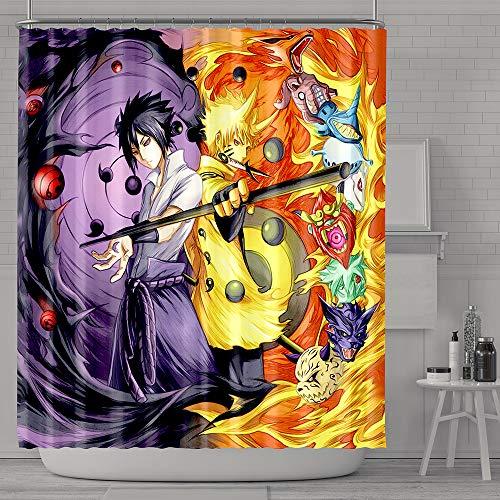 Personalizado Akatsuki Naruto Cortina baño,Resistente al Moho Poliéster de Cortina Ducha con 12 Ganchos 180x180 cm