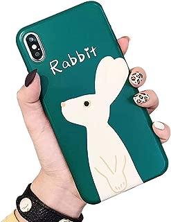 BONTOUJOUR iPhone XS Max Case, Beautiful Art Style Cartoon Art Rabbit Soft TPU Silicone Cover Case, Animal Fun Case Full Body Strong Protection- Art Rabbit