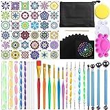 Amzeeniu Kit di Pittura Mandala Set di 74 Strumenti Mandala Dotting Tools Include la Pittura della Roccia Stencil,Aste Acriliche,Strumenti di punteggiatura ecc per Disegno Artigianato Nail Art DIY