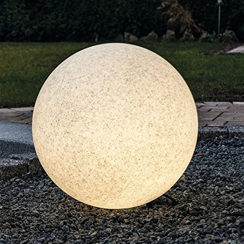 Kugelleuchte Bodenleuchte Leuchtkugel Gartenkugel Mundan inkl. Erdspieß | 200 mm Ø | granit | wetterbeständiger Kunststoff | 230V | E27 | IP44 | rund | Außenleuchte | Gartenleuchte | Wegleuchte