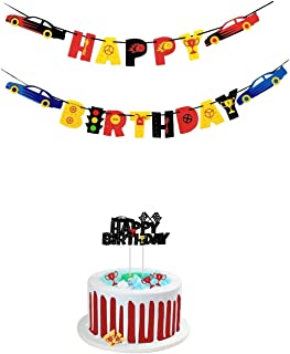 Set of 2 Sports Car Theme Happy Birthday Banner And Happy Birthday Cake Topper, Sports Car Theme Party Decorations, Sports...