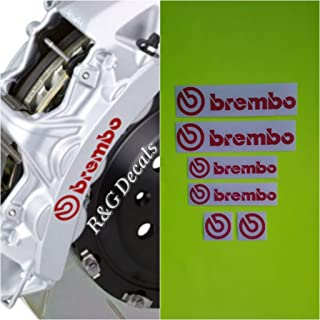R&G Brembo Decal Combo Package for 6 Piston & 4 Piston & Brembo Logos Brake Caliper Decal Sticker High Temp Set of 6 Decals (Red)