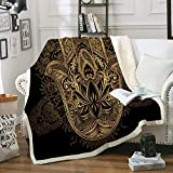 Gold Hamsa Hand Throws Boho Blanket Black Gold Sherpa Fleece Blanket Soft Warm Fatima Hand Blanket for Bedroom Couch Sofa (Throw(50'x60'), Hamsa Hand)