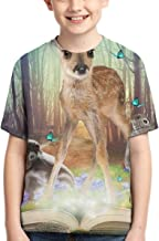 Boys Short Sleeve Magic Forest Friends Bambi Africa Ratel Rabbit 3D Printed Graphic T-Shirt Kids Teenagers Tee Shirts
