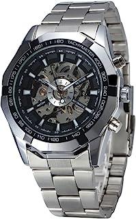 Relógio de pulso-Relógio de pulso masculino automático mecânico com pulseira de aço inoxidável (preto + prata)