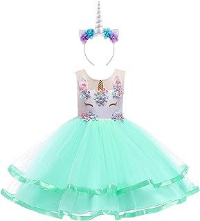 50288b83cfc82 IBTOM CASTLE Enfant Fille Déguisement Licorne Robe Florale Princesse Tutu  Jupe Canaval Costume de Photographie Cérémonie