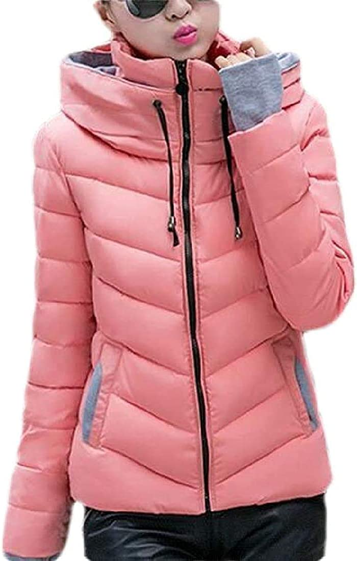 Ceally Women Winter Quilted Jacket Hooded Solid Down Coat Puffer Jacket Outwear