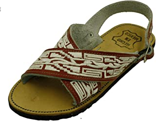 Men Leather Mexican Two Strap PITEADO Bordado Sandals
