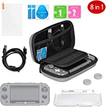 $25 » Accessories Kit Bundle for Nintendo Switch Lite, 8 in 1 Complete Starter Kit, Portable Carry Case, Charging Cable, Tempered Glass Screen Protector, 2 Joystick Caps, Silicone+Crystal Case Shell, Gray