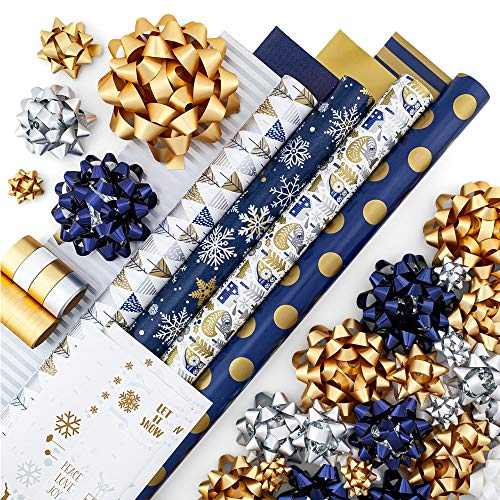 Gold + Silver + Blue Reversible Wrapping Paper Set: 4 Rolls (8 Designs) of Premium Gift Wrap (80 sq. ft.) with 30 Coordinated Bows, 2 Spools of Ribbon, and 24 Gift Tags