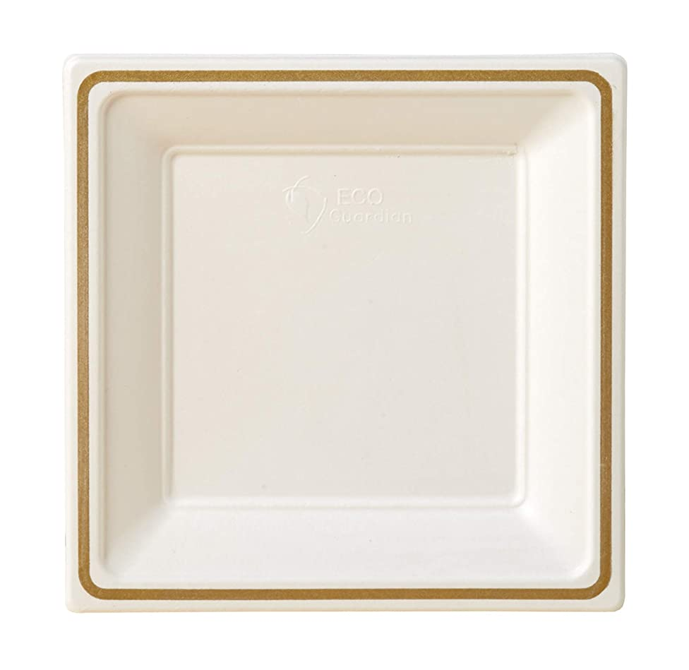 Compostable Printed Rim Plates, 9 Inch, Square Shaped, White with Gold, 64 Pack