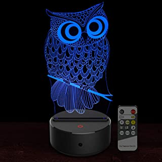 Owl Gift 3D Lamp Toys : 7 Colors Changing Owl Toy 3D Night Light for 3 + Year Olds Kids, Xmas Gift & Birthday Gift for Boys and Girls - Remote and Touch 2 Ways Control, New Owl