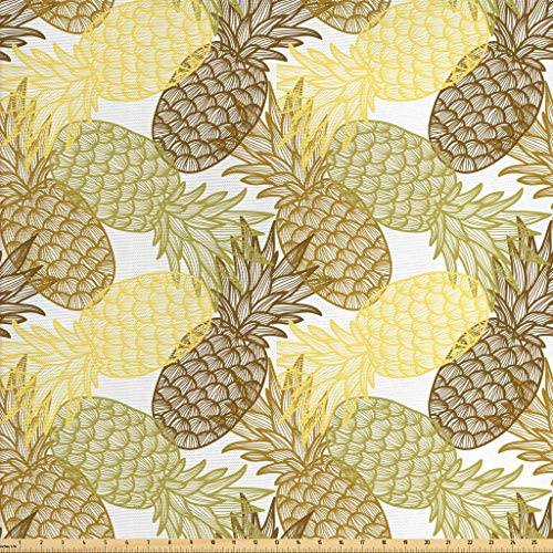 Ambesonne Pineapple Fabric by The Yard, Summer Themed Overlapping Curving Exotic Tropical Pineapples with Lines Print, Decorative Fabric for Upholstery and Home Accents, 1 Yard, Yellow Brown