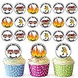 Dessin animé Pompier Mix 24personnalisé comestible pour cupcakes/décorations de...