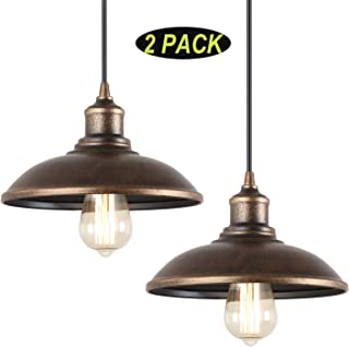 Giluta Rustic Pendant Light Industrial Barn Pendant Lighting, Vintage Style Kitchen Farmhouse Edison Hanging Ceiling Light Fixture (2 Pack Old Gold)