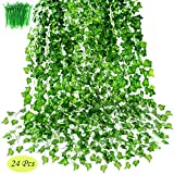 OrgMemory Artificial Ivy, Fake Ivy, (24Pack, 85' Each, 100Pcs Cable Tie), Greenery Garlands Hanging for Wedding Party Garden Decor