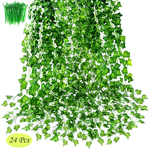 OrgMemory Künstliches Efeu, Fake Ivy, (24 Stück, 2.2M Länge, 100 Stück Kabelbinder), Hängend Grüne für Hochzeitsfeier Garden Decor(Künstliche Efeu)