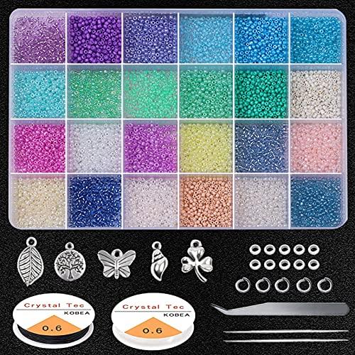 Kit de joyería Cuentas de semillas de vidrio 2mm pequeñas cuentas de artesanías con anillos de salto, cierres de langosta, pinzas, tijeras y cadena elástica para la fabricación de joyas BRICOLAJE Puls