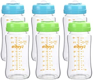 Matyz Glass Breastmilk Storage Bottles, 6 Pack, 8 oz, Compatible with Spectra Medela Pump - Store, Freeze, Warm Up Milk We...