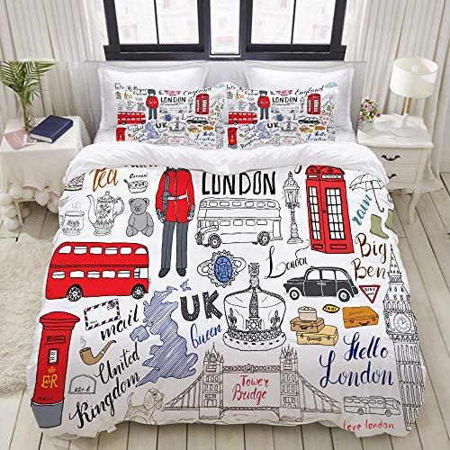 Funda nórdica, London City Doodles Elements Collection, Juego de Ropa de Cama Juegos de Funda de edredón de poliéster de Lujo Ultra cómodo y Ligero