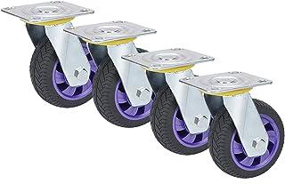 YJJT Heavy Duty wiel, rubberen wiel, hoge elasticiteit, antislip, stabiele werking, zacht loopvlak, geen krassen op de vlo...
