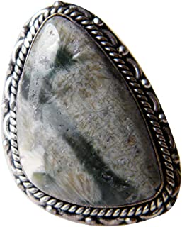 Ocean Jasper Ring Silver Plated Ring Handmade Designer Ring Jewelry Adjustable Ring (Ring Size 8.5 USA) AH-6805
