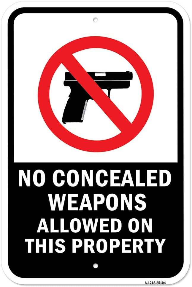 No Concealed Weapons Free Shipping New Allowed On This cheap Property X Heavy- 18