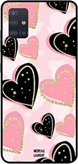Samsung Galaxy A71 Protective Case Cover Black & Pink Hearts