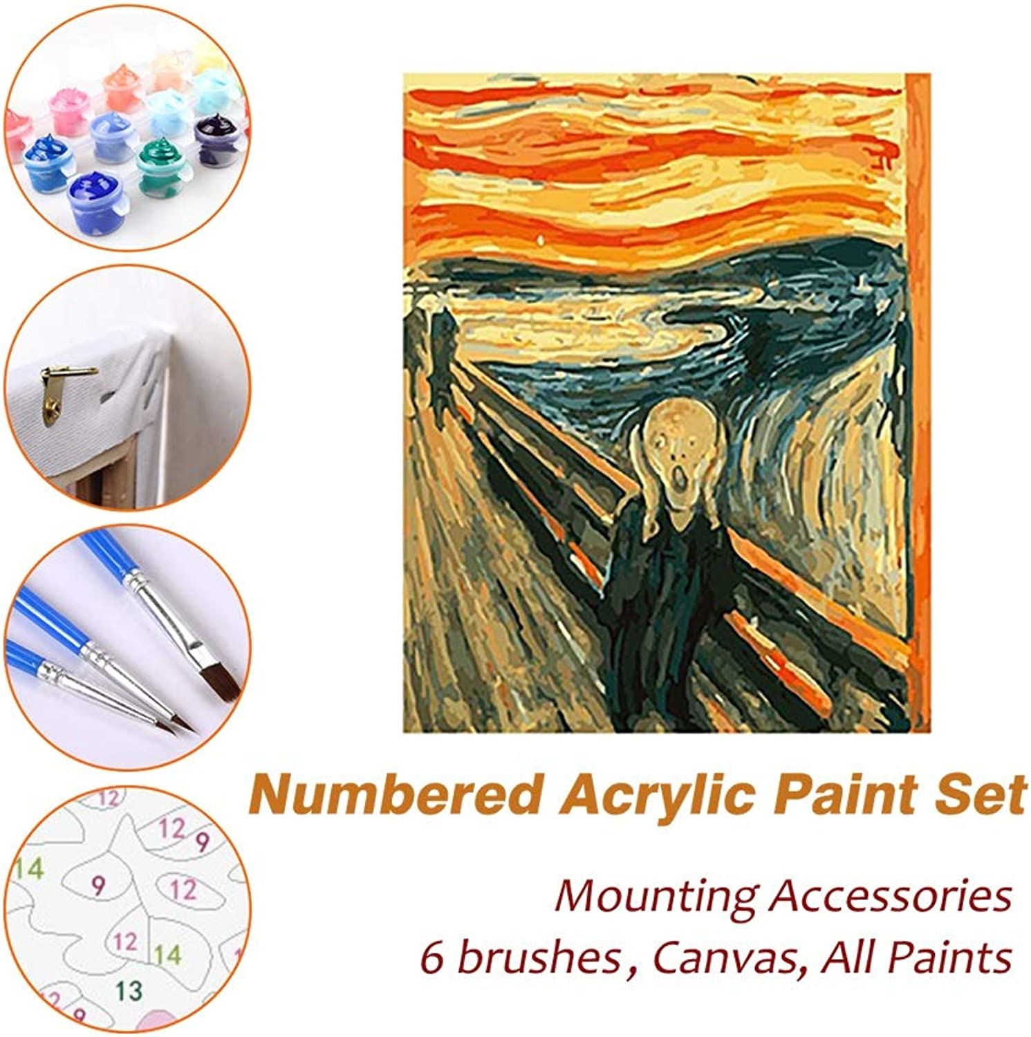 Puzzle House Paint Max Paint By Numbers Kits For Kids Adults Beginner Teens Pine Framed DIY Oil Acrylic Painting Paint Art Brush Sets, Van Gogh The Fear Abstract Painting 531