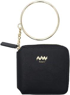 マリオクラフト スヌーピー[スクエアウォレット]2つ折りラウンド財布/ブラック ピーナッツ 100×115×20mm