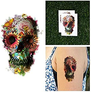 Tattify Garden Skull Collage Temporary Tattoo - Graveyard Girl (Set of 2) - Other Styles Available - Fashionable Temporary Tattoos - Long Lasting and Waterproof