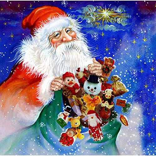 Diamond Painting Art for Adults Colorful Rainstone Dots Beads Kits Santa Claus 11.8x11.8 in by Megei