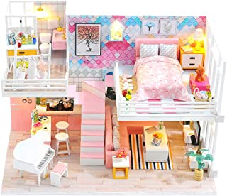 DIY Miniature Dollhouse Kit Pink Wooden Sweet Room with Furniture Diary Apartment Mini Doll House Building Kit Led Light D...