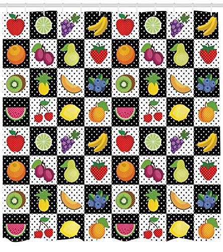 taquxinlaowan Schwarzweiss-Duschvorhang-Küchen-Frucht-Druck für Badezimmer