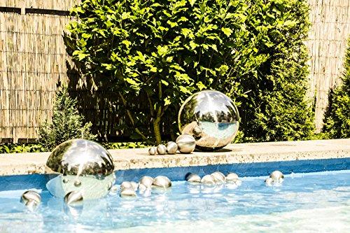 8er Set Köhko Dekokugeln Ø 12cm Ø 9cm Ø 6cm und Ø 4cm Edelstahlkugel Gartenkugeln Teichkugeln - 4