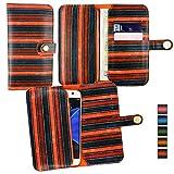 Emartbuy® Orange Vintage Stripes PU Leather Wallet Case