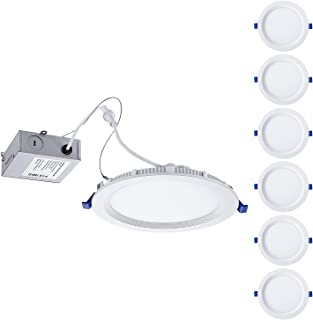 TORCHSTAR 6 Inch Slim Recessed Lighting with Junction Box, Eye-Caring, CRI 90+, Dimmable 12W 100W Eqv. Can-Killer Airtight IC Rated Downlight, ETL & Energy Star Listed, 5000K Daylight, Pack of 6