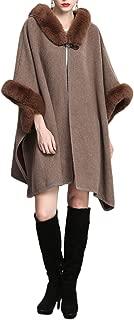 Women's Batwing Faux Fur Hooded Cloak Poncho Cape